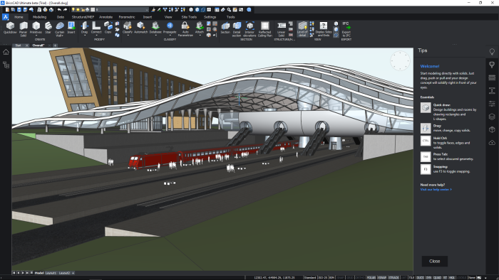 BricsCAD BIM V20 - Train station